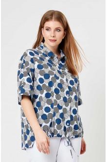 """Блуза """"Лина"""" 4199 (Белый, синий принт)"""