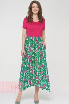Платье женское 191-3482 Фемина (Темная малина/ирисы)