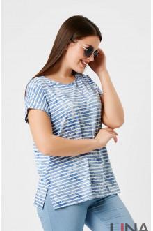 """Блузка """"Лина"""" 1151 (Голубой полоска)"""