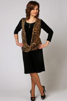 """Платье """"СКС"""" 3511 (Черный-коричневый дизайн)"""