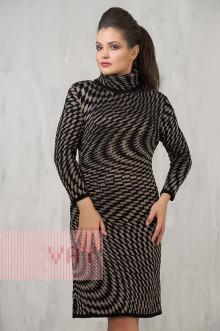 Платье женское 2220 Фемина (Черный/темно-бежевый)