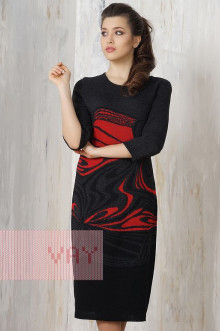 Платье женское 2168 Фемина (Черный/темно-серый/кармин)