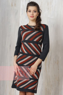 Платье женское 2192 Фемина (Антрацит/кирпичный/светлая верба)