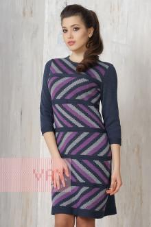 Платье женское 2192 Фемина (Темный джинс/пур-пур/стальной)