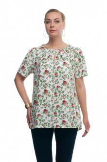 """Блуза """"Олси"""" 1610013/1 ОЛСИ (Розы красные на белом)"""